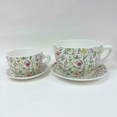 Tea Cup Pot Spring Flowers (Various Sizes)