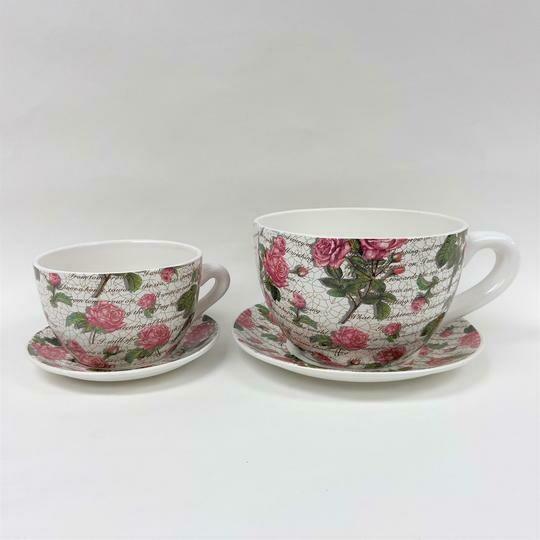 Tea Cup Pot Pink Roses (Various Sizes)