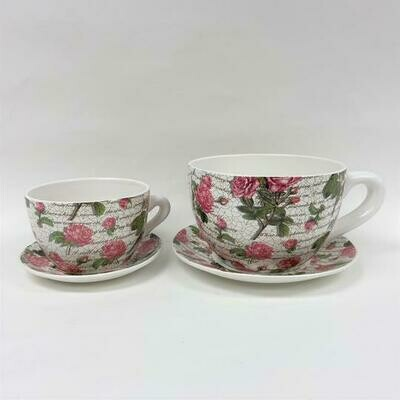 Tea Cup Pot Pink Roses (Various Sizes)