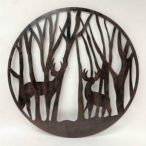 "Deer in Trees Metal Wall Decor 39x39"""