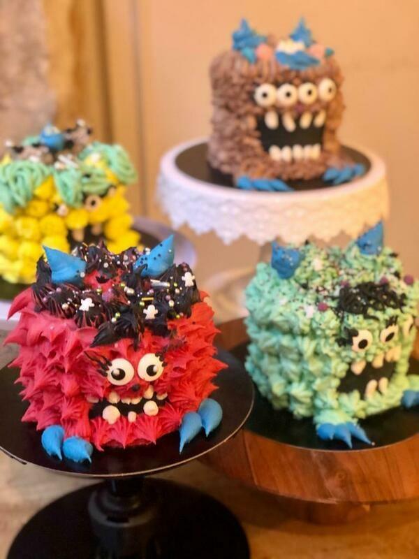 Red velvet cake decoration Little Monster