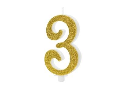 Vela dorada número 3
