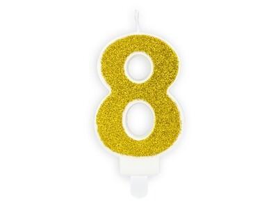 Vela dorada número 8