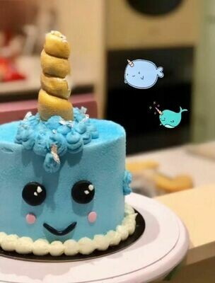 Blue Narwhal cake