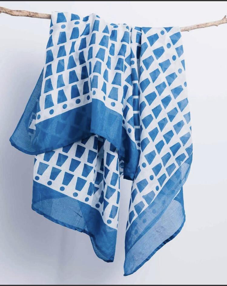 Bloom & Give, Bari Silk/Cotton Scarf, Indigo