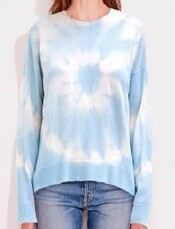 Sundry, Tie Dye Crew Neck Sweater, sky/cream
