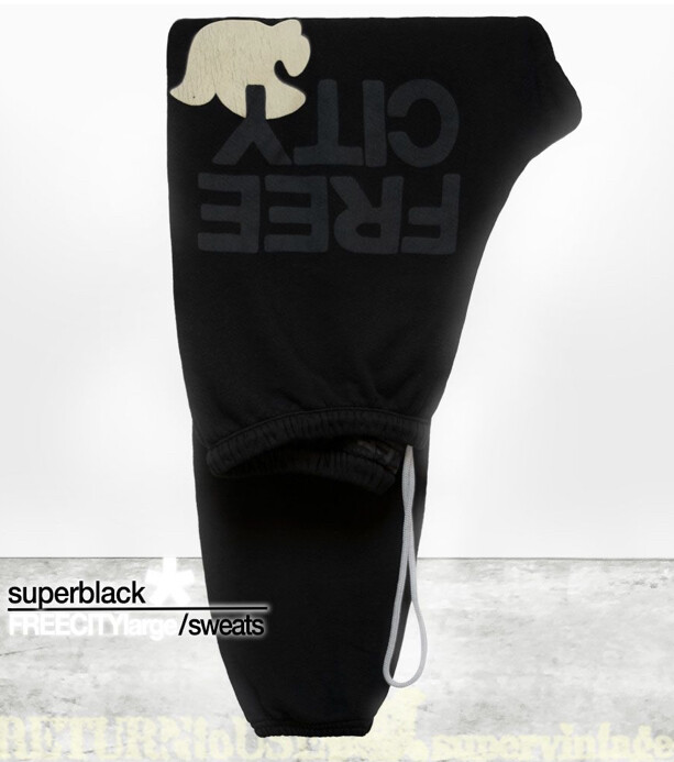 Free City, FreeCityLarge Sweatpant, Black/Cream