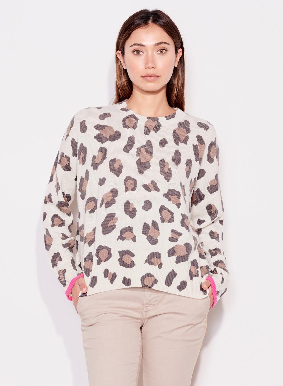 Sundry, Leopard Oversize Sweater, Bone