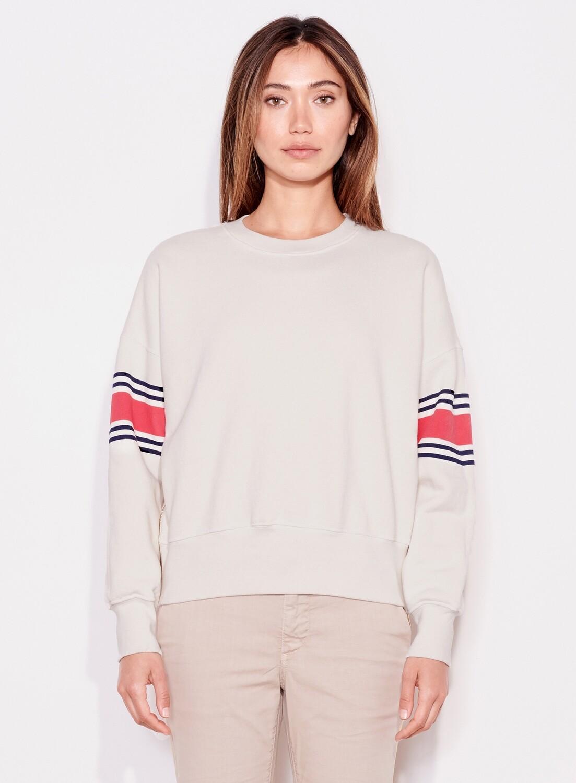 Sundry, Stripe Double Zip Sweatshirt, Bone