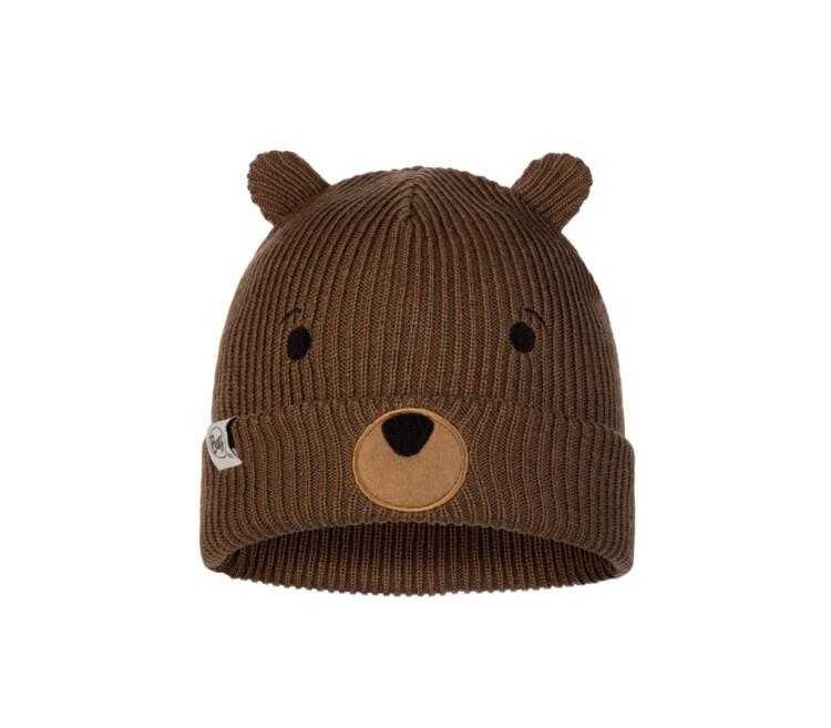 Buff, Child Knitted Fleece Hat, Fun Bear