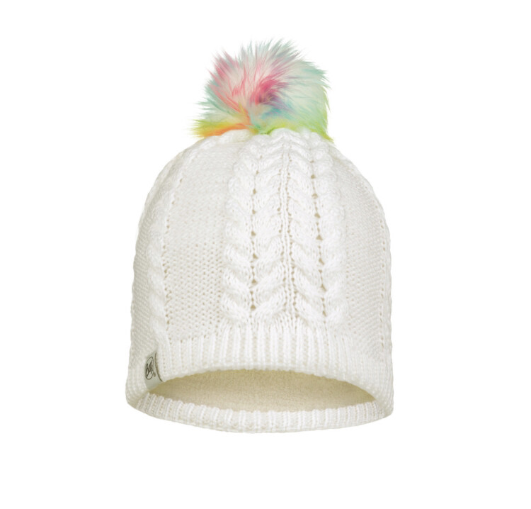 Buff, Child Knitted Fleece Hat, Nina, White