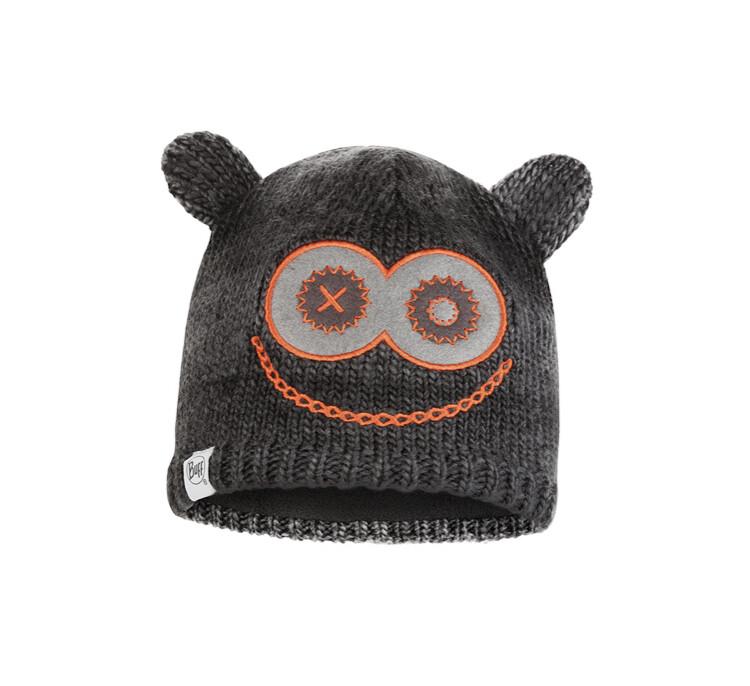 Buff, Child Knitted Fleece Hat, Monster, Black