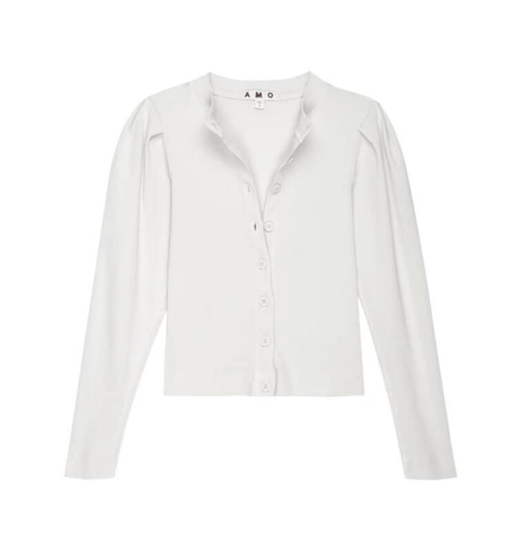 AMO Denim, Puff Sleeve Cardigan, Off White