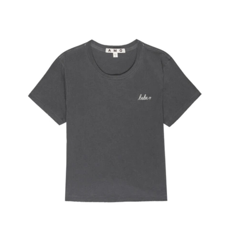 AMO Denim, Babe Tee Embroidered, Faded Black