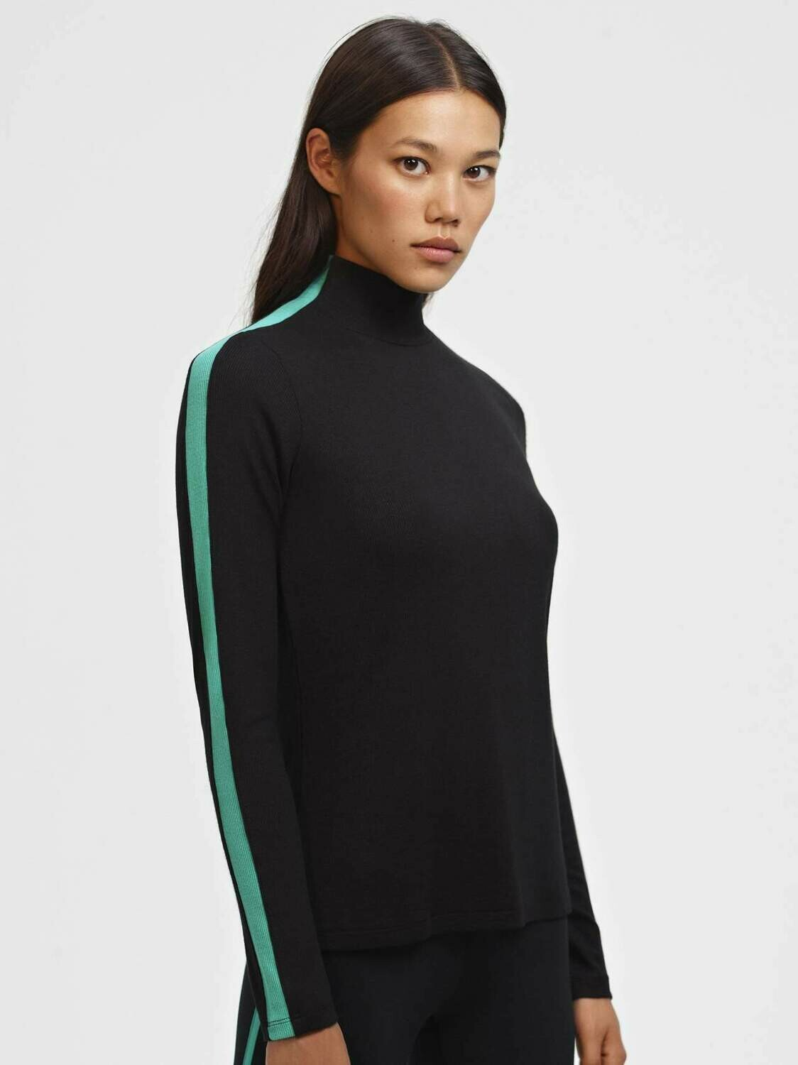 Splits59, Montana Rib Turtleneck, Black/Menthol