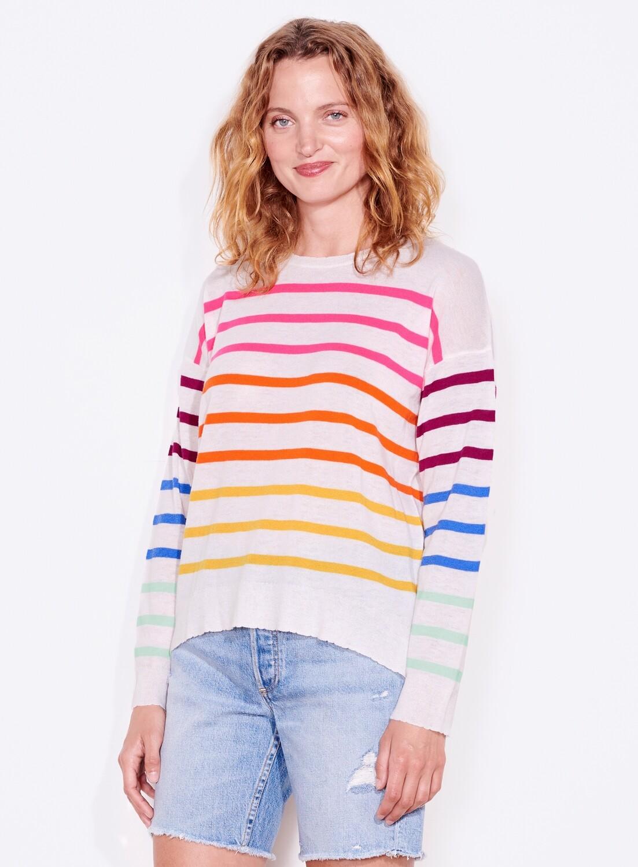 Sundry, Multi-Stripe Crew Sweater