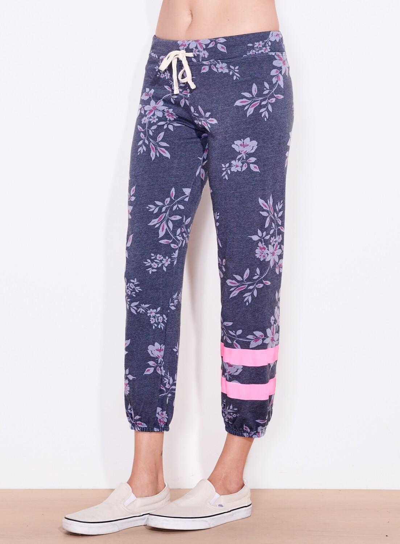 Sundry, Dark Floral Sweatpants with Stripe