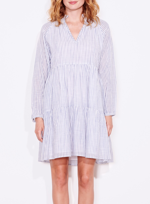 Sundry, Tiered Dress, Natural/Blue Stripe