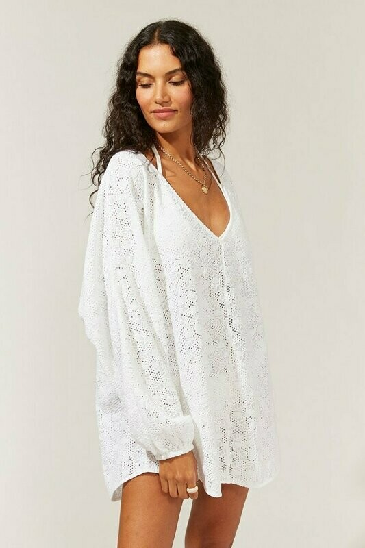 Solid and Striped, Eyelet Coverup, White