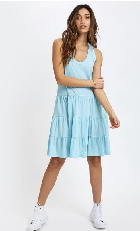 Sol Angeles, Tier Tank Dress, Aqua