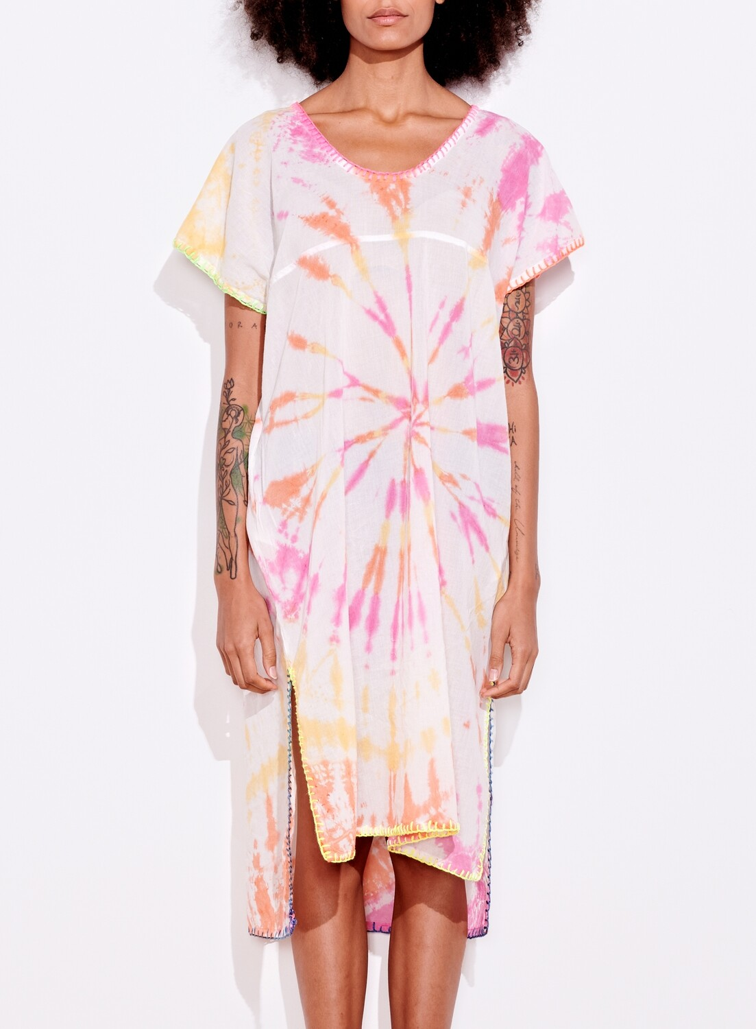 Sundry, Kaftan Embroidered, Pink/Canary TD, ONE SIZE