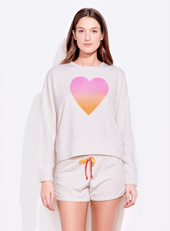 Sundry, Ombre Heart Sweatshirt, Vanilla