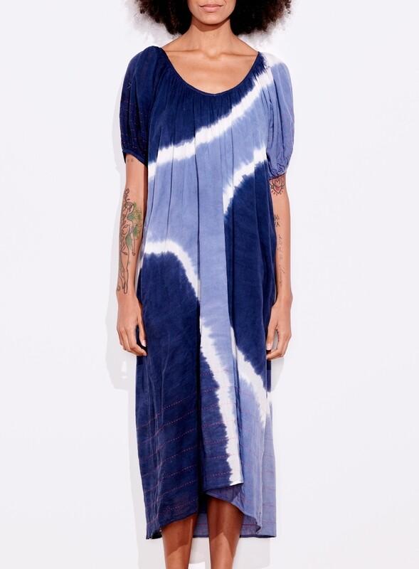 Sundry, Bubble Sleeve Maxi Embroidered, Deep Sea