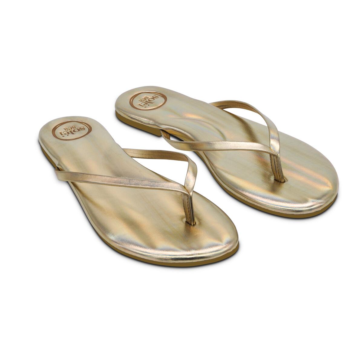Solei Sea, Flip Flops, Metallic Gold