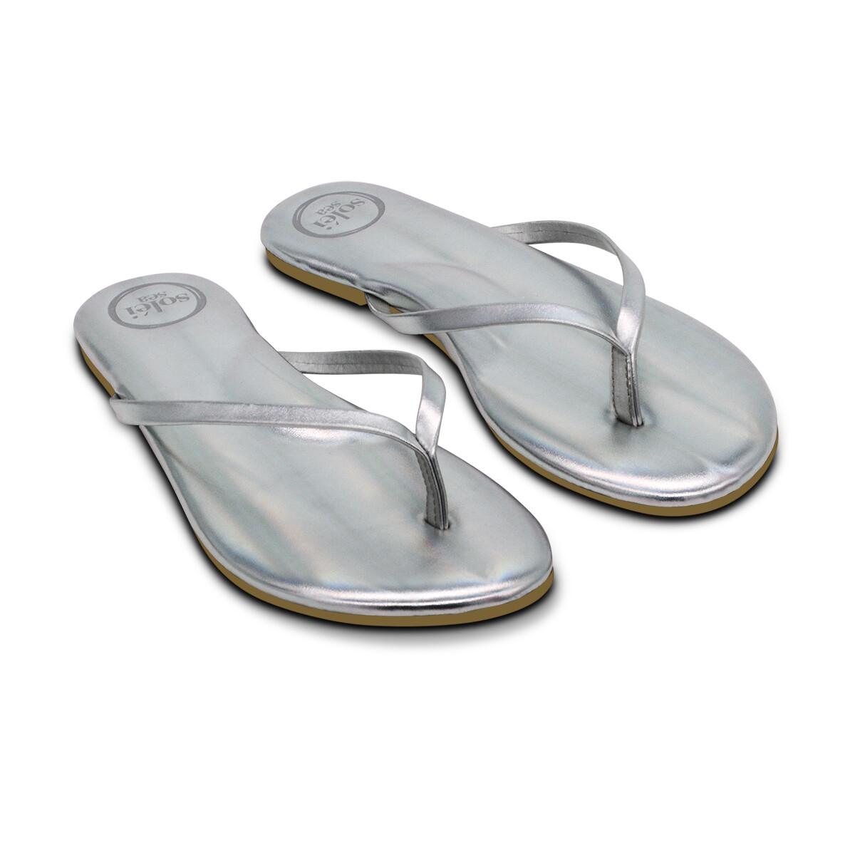 Solei Sea, Flip Flops, Metallic Silver