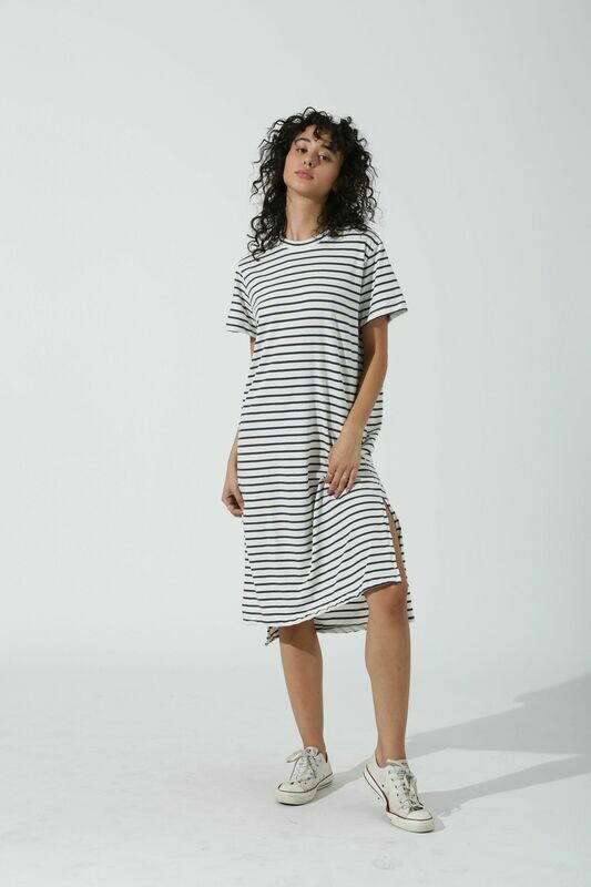 Electric and Rose, Pali Dress Stripe, Cloud/Onyx