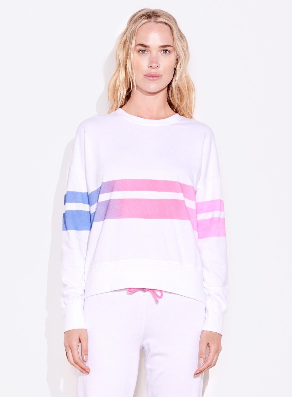 Sundry, Ombre Stripe Sweatshirt, White