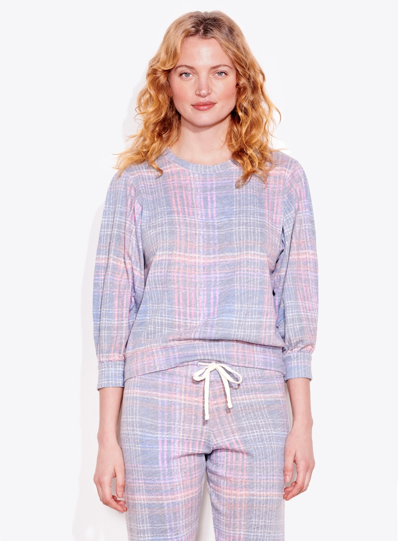 Sundry, 3/4 Sleeve Sweatshirt, Plaid