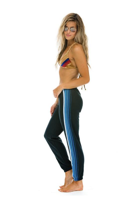 Aviator Nation, 5 Stripe Sweat, Charcoal/Blue