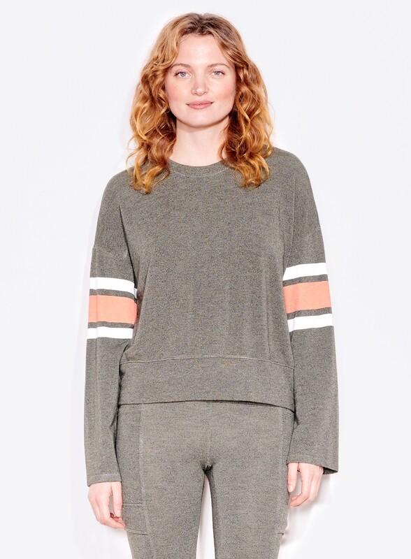 Sundry, Varsity Stripe Pullover, Pistachio