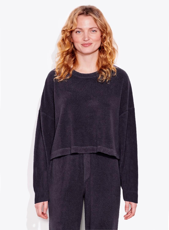 Sundry, Faux Sherpa Sweatshirt, Black