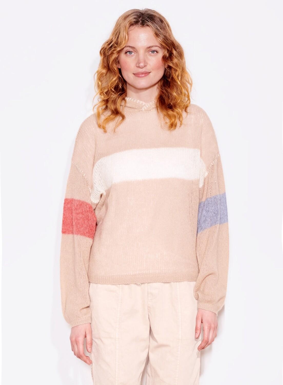 Sundry, Bold Stripe Oversized Hoodie, Oatmeal