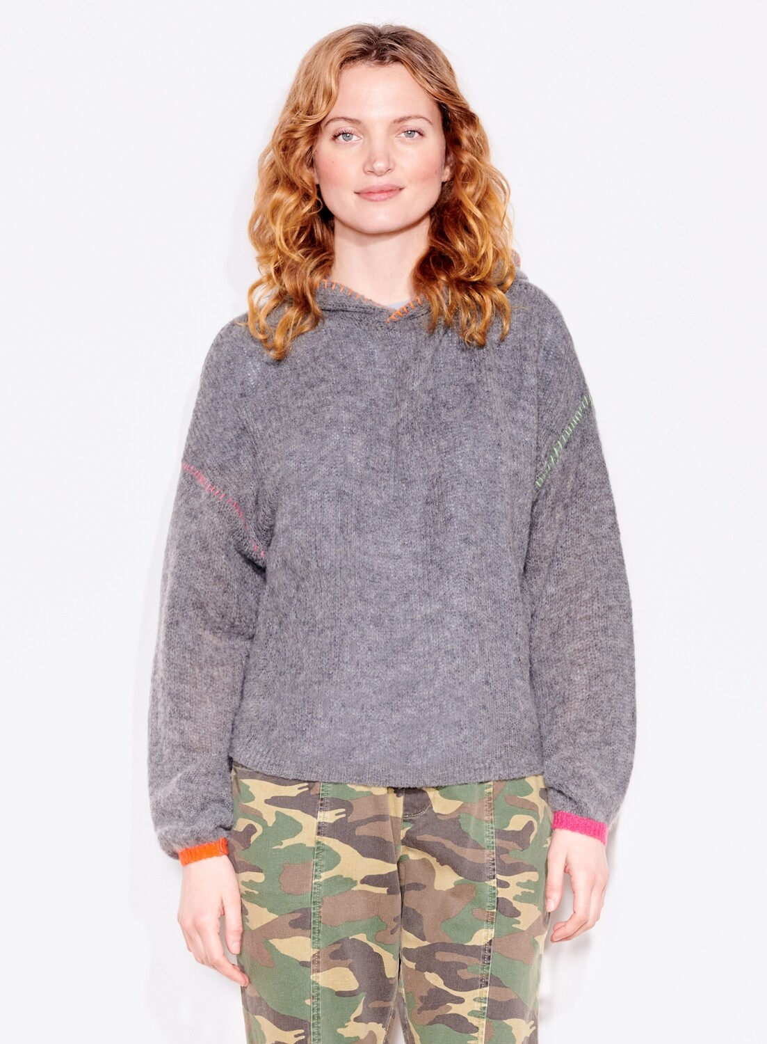Sundry, Pop Embroidery Hoodie, Charcoal