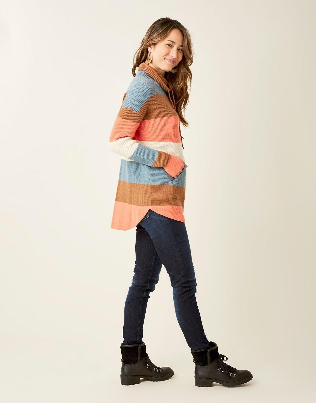 Carve Designs, Rockvale Sweater, Coral Bold Stripe