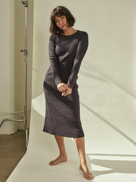 AMO Denim, Rib L/S Dress, Vintage Black