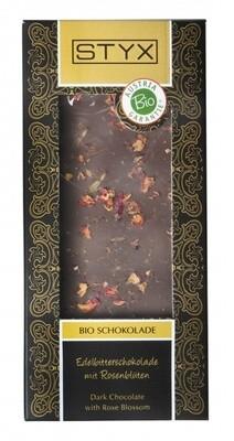 ORGANINIS tamsus šokoladas  su rožių žiedais