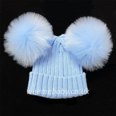 Pesci Baby Knitted Double Pom Hat