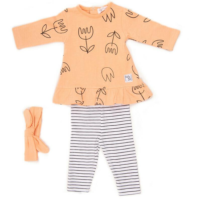 Babybol  Orange Flower 3 Piece Set (11866)