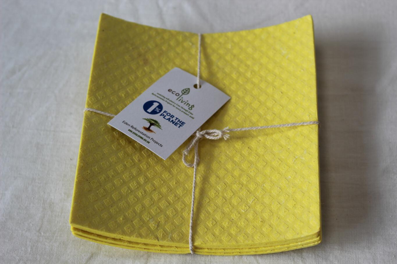 Ecoliving Compostable Sponge Cloths 4pk Yellow