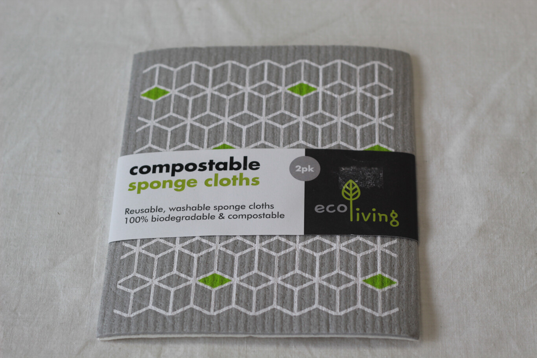 Ecoliving Compostable Sponge Cloths 2pk Pattern