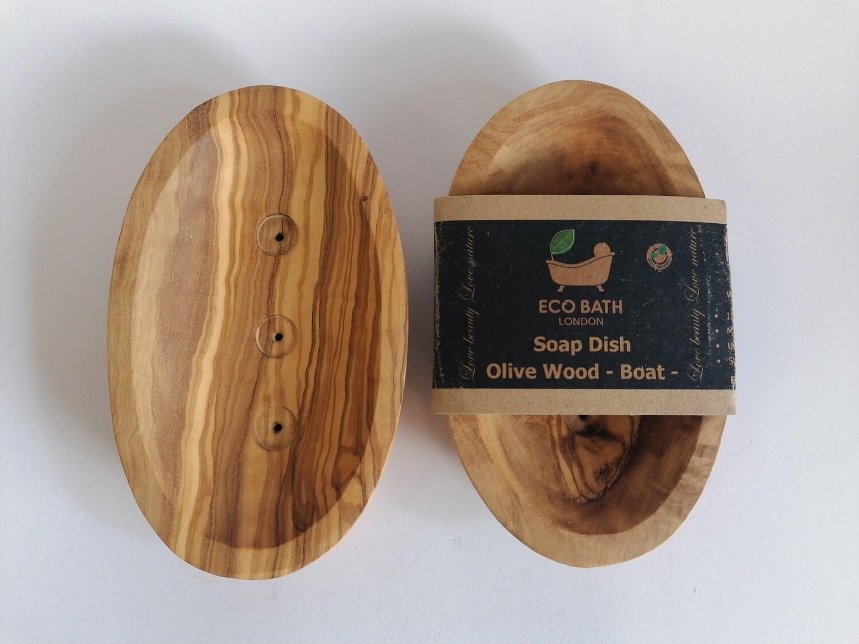 Eco Bath Olive Wood Soap Dish Boat