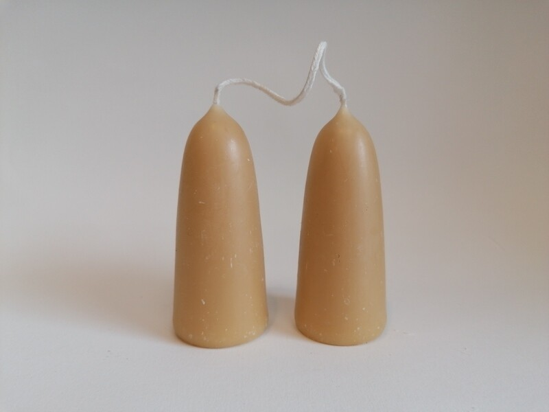 Pure Beeswax Stumpy Candles Loose 2pk