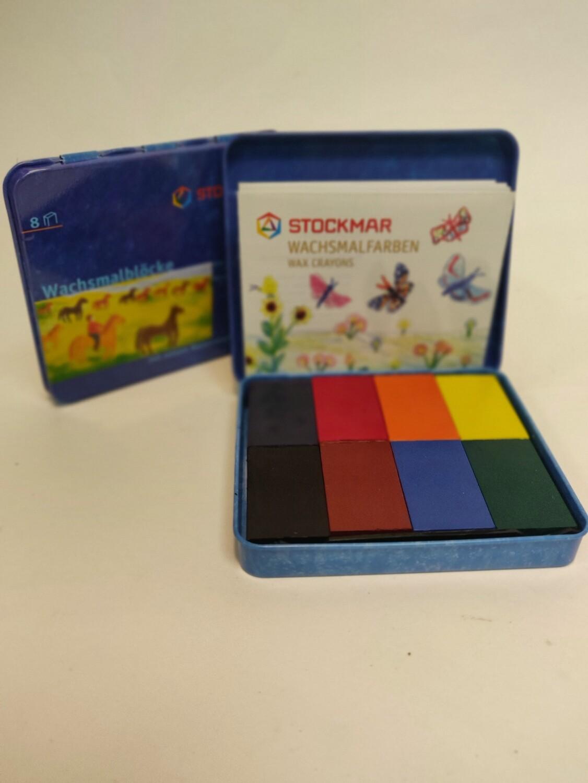 Stockmar Wax blocks in a tin 8 colours