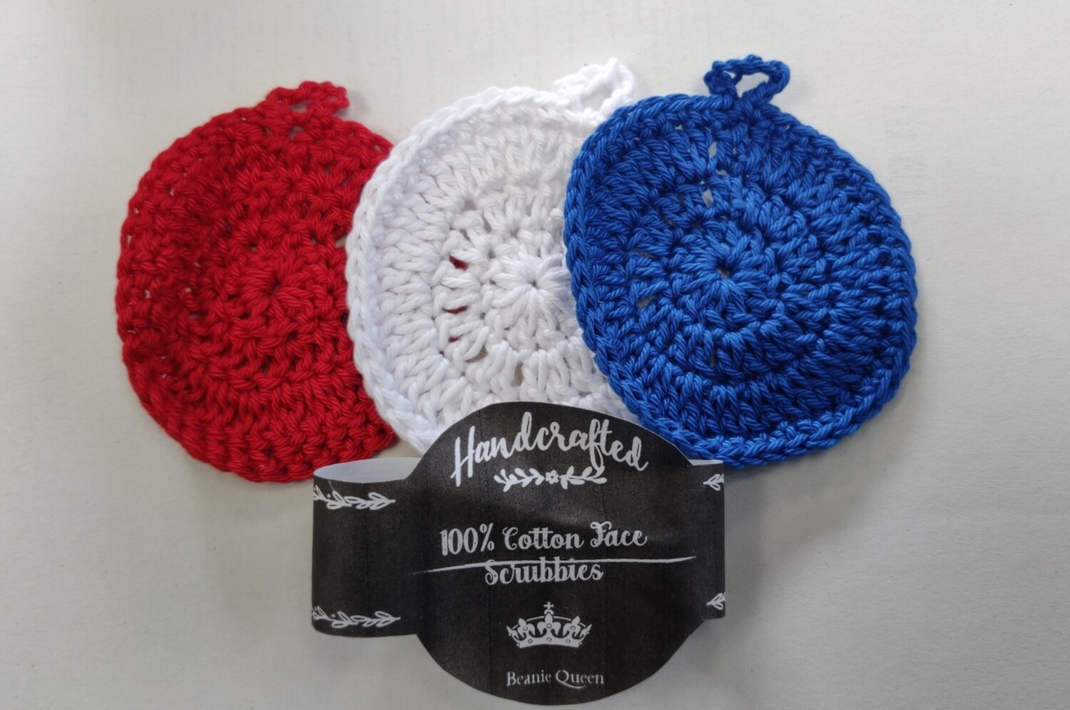 Beanie Queen Handcrafted 100% Cotton Face Scrubbies 3pk