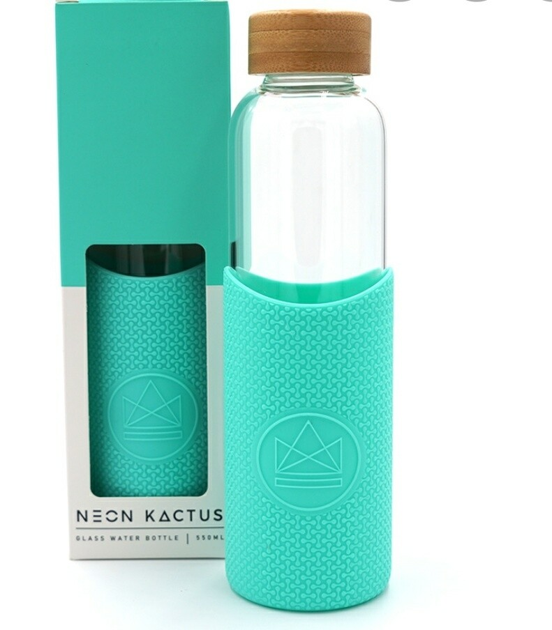 Neon Kactus Glass Drinks Bottle