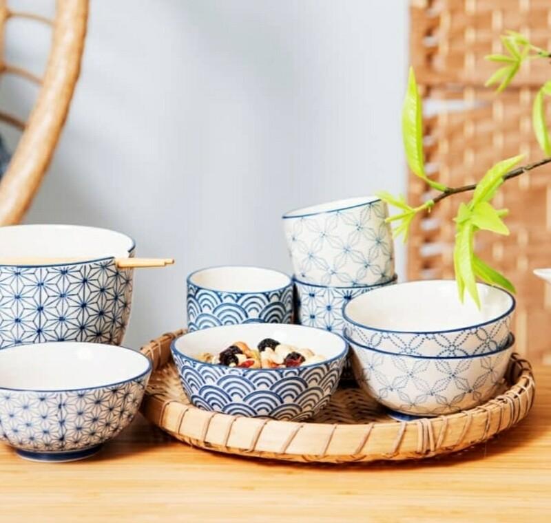 Set of 4 Sashiko pattern Japanese Bowls